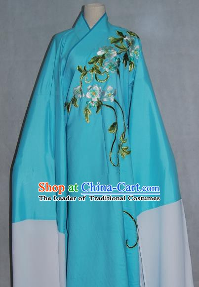 China Traditional Beijing Opera Niche Costume Chinese Peking Opera Water Sleeve Embroidered Blue Robe for Adults