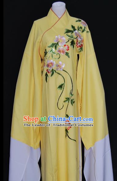 China Traditional Beijing Opera Niche Costume Chinese Peking Opera Water Sleeve Embroidered Yellow Robe for Adults