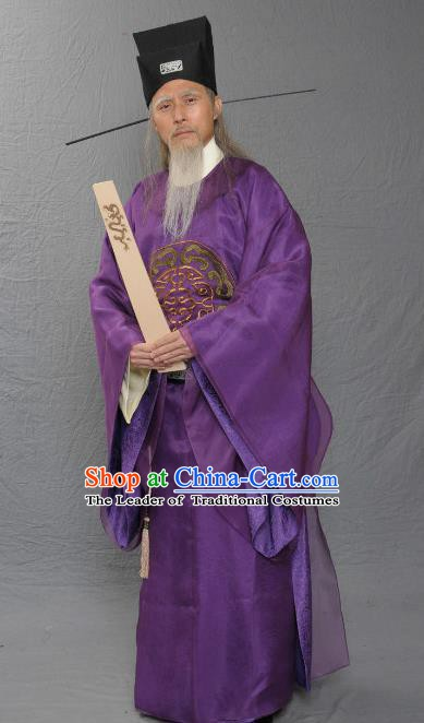 Chinese Ancient Song Dynasty Prime Minister Replica Costume for Men