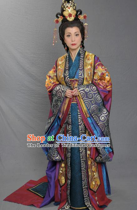 Ancient Chinese Song Dynasty Palace Lady Empress Dowager Replica Costume and Headpiece Complete Set for Women