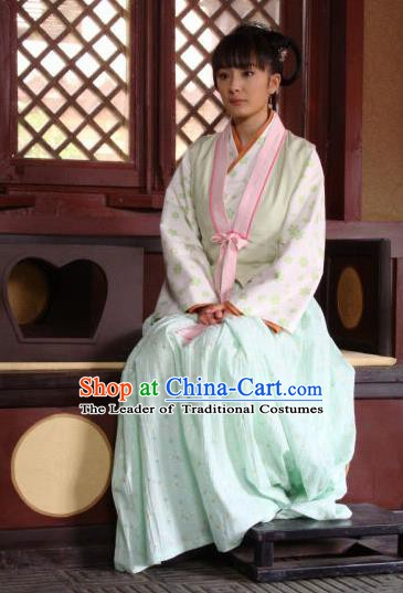 Chinese Traditional Tang Dynasty Young Lady Maidservants Replica Costume for Women