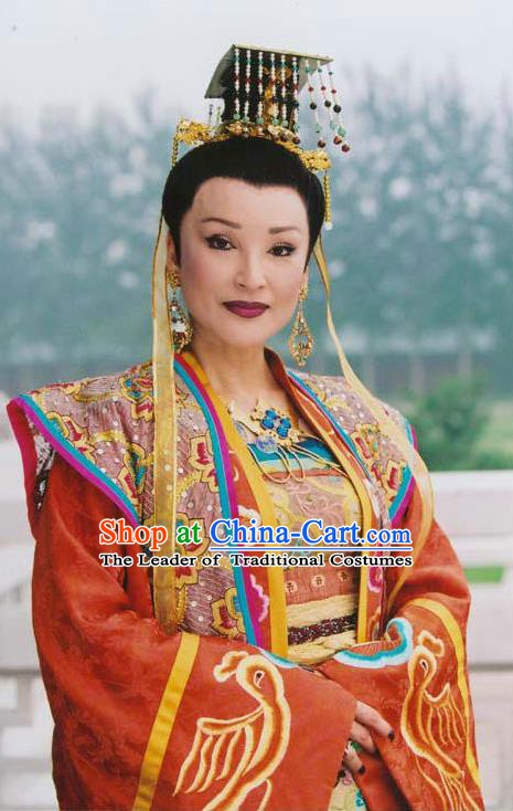 Chinese Traditional Tang Dynasty Wu Zetian Embroidered Dress Queen Replica Costume for Women