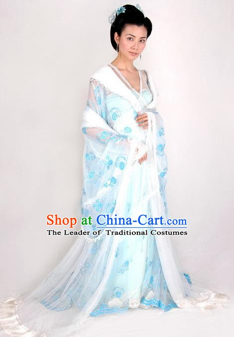 Ancient Chinese Traditional Tang Dynasty Imperial Consort Embroidered Dress Replica Costume for Women