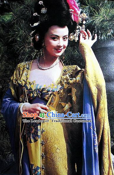 Chinese Ancient Tang Dynasty Palace Lady Dress Imperial Concubine Yang Replica Costume for Women