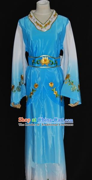 Traditional China Beijing Opera Young Lady Blue Dress Chinese Peking Opera Maidservants Costume