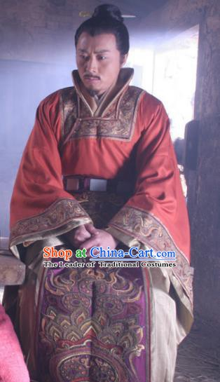 Chinese Ancient Emperor Taizong of Tang Dynasty Li Shimin Embroidered Replica Costume for Men