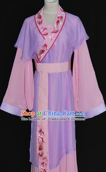 Traditional Chinese Beijing Opera Maidservants Purple Dress Peking Opera Young Lady Costume