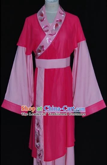 Traditional Chinese Beijing Opera Maidservants Rosy Dress Peking Opera Young Lady Costume