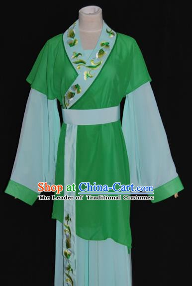 Traditional Chinese Beijing Opera Maidservants Green Dress Peking Opera Young Lady Costume