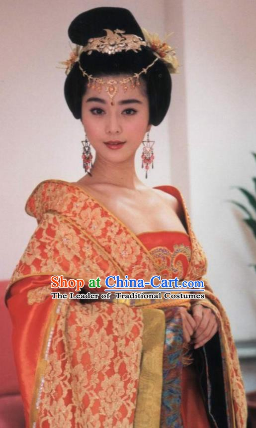 Ancient Chinese Tang Dynasty Palace Hanfu Embroidered Dress Consort Yang Replica Costume for Women