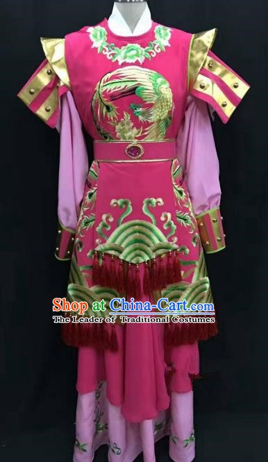 Traditional Chinese Beijing Opera Martial Lady Costume Professional Peking Opera Rosy Clothing