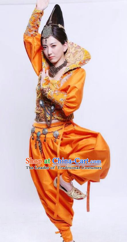 Chinese Ancient Tang Dynasty Loulan Kingdom Geisha Hanfu Dance Dress Historical Costume for Women