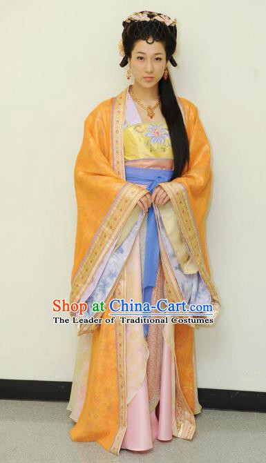Chinese Ancient Tang Dynasty Nobility Lady Dance Embroidered Hanfu Dress Historical Costume for Women
