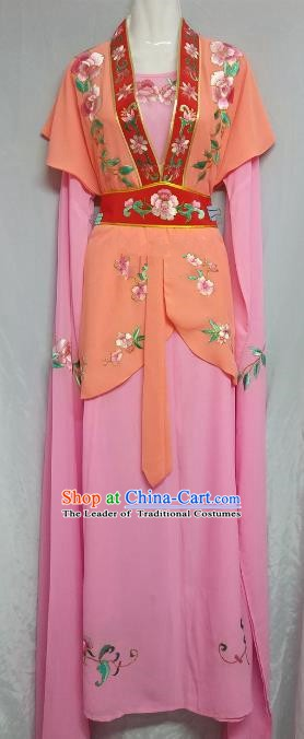 Top Grade Chinese Beijing Opera Maidservants Pink Dress China Peking Opera Young Lady Embroidered Costume