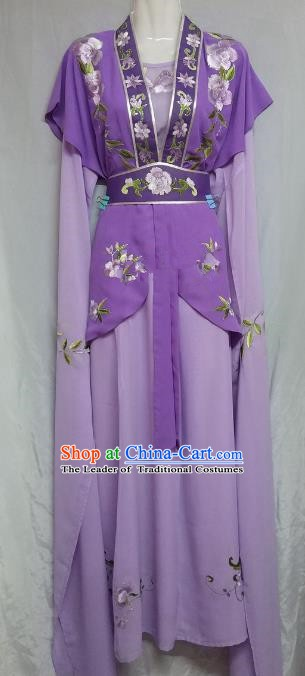 Top Grade Chinese Beijing Opera Maidservants Purple Dress China Peking Opera Young Lady Embroidered Costume
