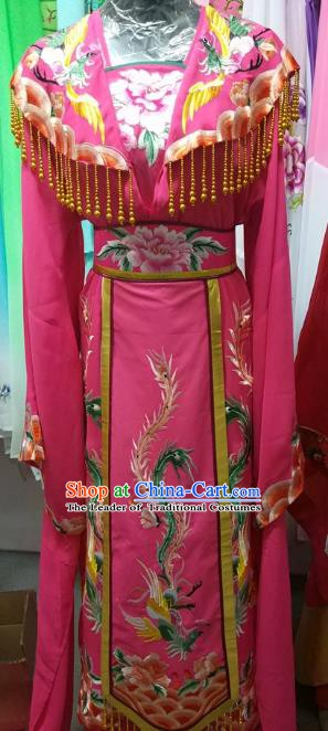 Top Grade Chinese Beijing Opera Diva Water Sleeve Rosy Dress China Peking Opera Empress Embroidered Costume