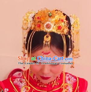 Chinese Ancient Hair Accessories Bride Wedding Barrettes Phoenix Coronet Hairpins for Women
