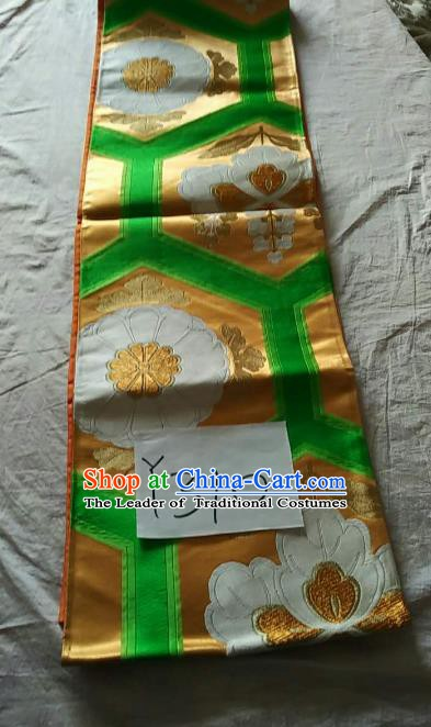 Japanese Traditional Kimono Yukata Dress Courtesan Embroidered Green Brocade Belts Waistband for Women