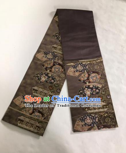 Japanese Traditional Brocade Waistband Kimono Yukata Embroidered Brown Belts for Women