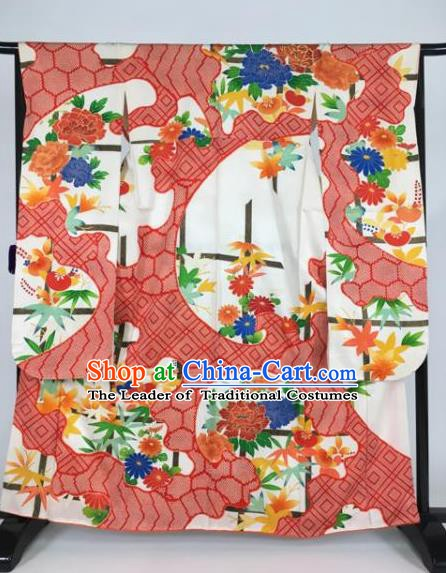 Japan Traditional Printing Kimonos Empress Palace Furisode Kimono Ancient Yukata Dress Formal Costume for Women