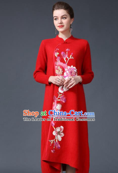 Chinese National Costume Embroidered Peony Red Cheongsam Qipao Dress for Women