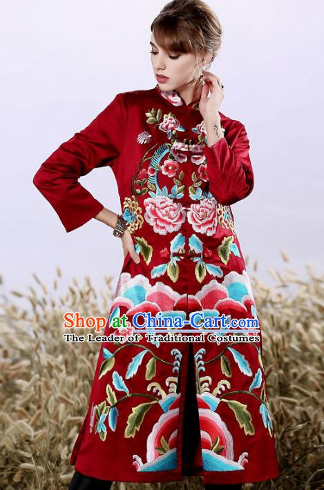 Chinese National Costume Embroidered Red Qipao Dress Silk Cheongsam for Women