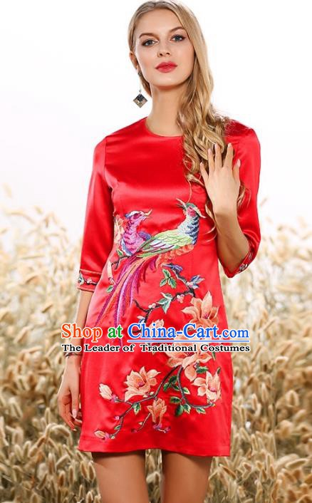Chinese National Costume Embroidered Red Silk Qipao Dress Cheongsam for Women