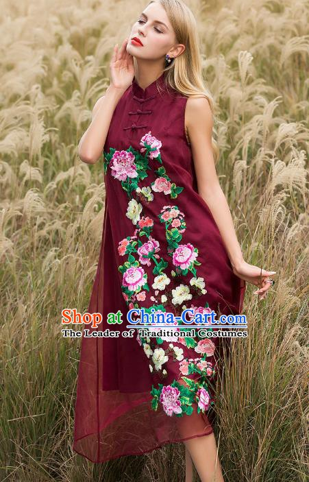 Chinese National Costume Stand Collar Wine Red Cheongsam Embroidered Peony Sleeveless Qipao Dress for Women