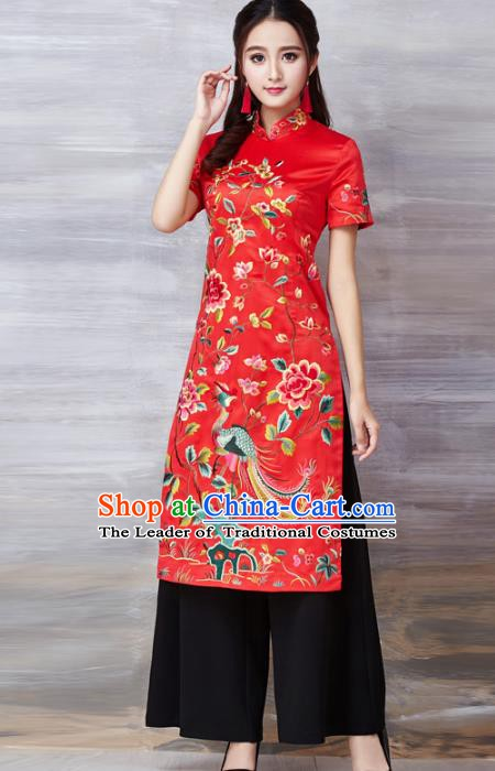 Chinese National Costume Red Cheongsam Embroidered Peony Stand Collar Qipao Dress for Women