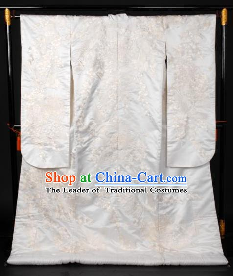 Ancient Japanese Empress Wedding Garment Palace Shiromuku Furisode Kimonos Traditional Yukata Dress Costume for Women