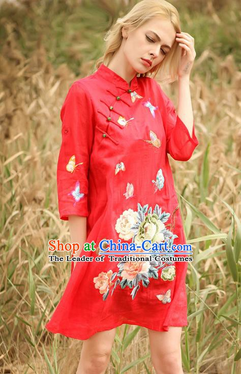 Chinese National Costume Red Cheongsam Embroidered Peony Butterfly Qipao Dress for Women