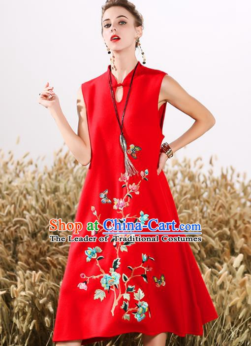 Chinese National Costume Cheongsam Embroidered Peony Red Qipao Dress for Women
