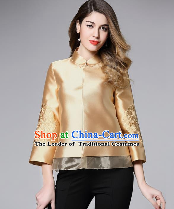 Chinese National Costume Tang Suit Golden Shirts Traditional Embroidered Blouse for Women