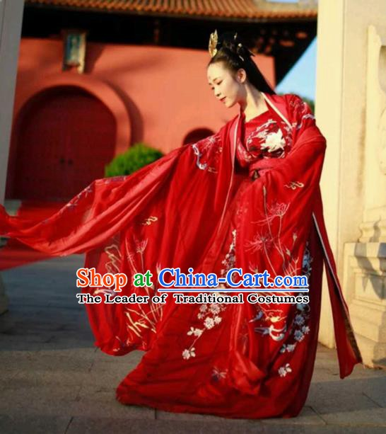 Chinese Ancient Embroidered Wedding Costume Tang Dynasty Princess Embroidered Hanfu Dress for Women