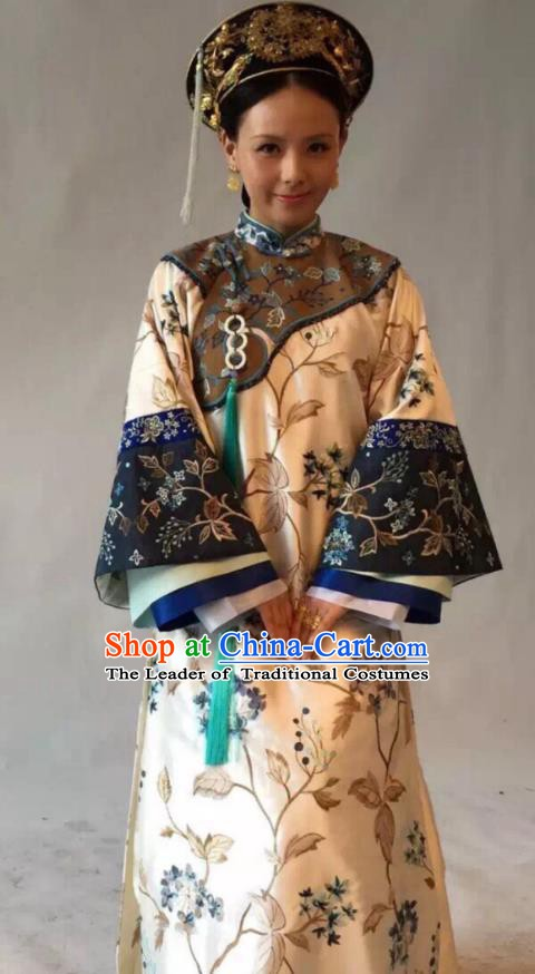 Chinese Traditional Historical Costume China Qing Dynasty Kangxi Imperial Concubine Embroidered Clothing