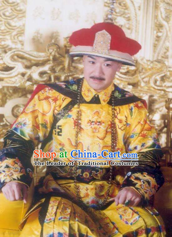 Chinese Traditional Historical Costume China Qing Dynasty Kangxi Emperor Embroidered Dragon Robe Clothing