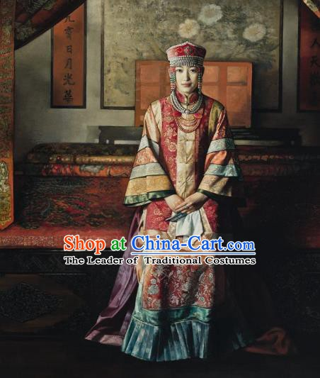 Chinese Ancient Manchu Lady Historical Costume China Qing Dynasty Mongolian Empress Clothing