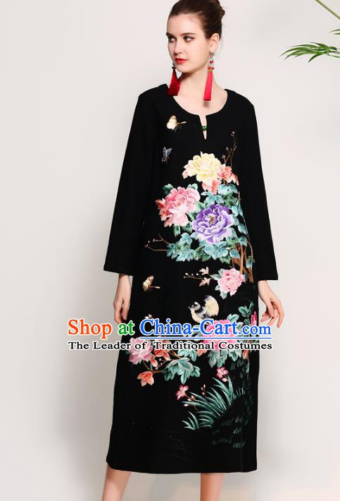 Chinese National Costume Tang Suit Black Qipao Dress Traditional Embroidered Peony Flowers Cheongsam for Women