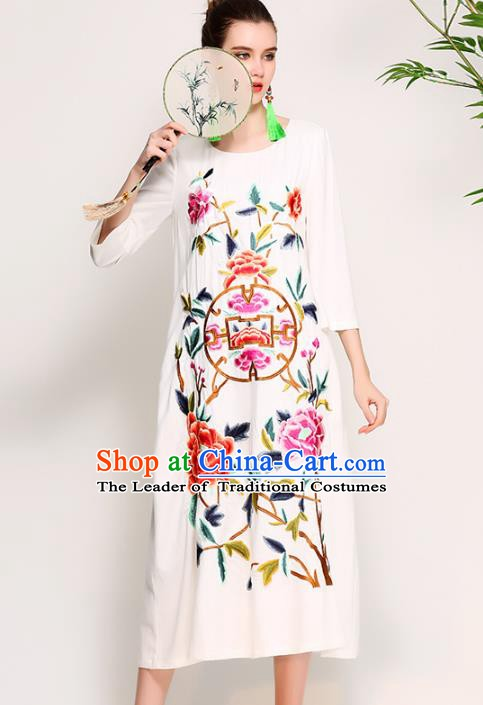 Chinese National Costume Tang Suit Qipao Dress Traditional Embroidered Peony White Cheongsam for Women