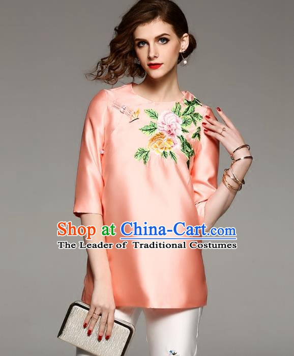 Chinese National Costume Tang Suit Qipao Shirts Traditional Embroidered Peony Orange Blouse for Women