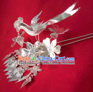 Traditional Chinese Miao Nationality Birds Hair Accessories Hairpins Headwear Hmong Hair Clip for Women