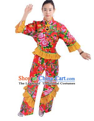 Traditional Chinese Yangge Fan Dance Costume, China Folk Dance Yangko Red Clothing for Women