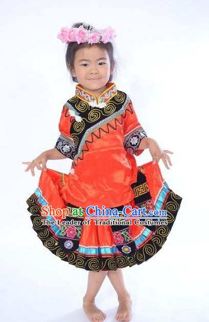 Traditional Chinese Yi Nationality Dance Costume, Folk Dance Ethnic Dance Red Dress for Kids