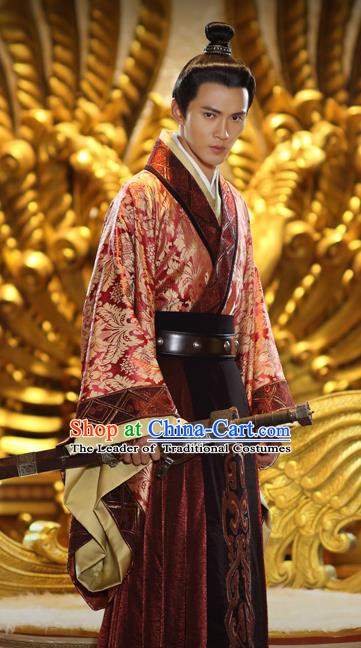 Traditional Ancient Swordsman Clothing Chinese Han Dynasty Nobility Childe Replica Costume for Men