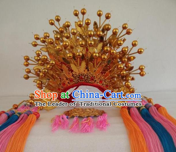 Traditional Chinese Beijing Opera Golden Butterfly Phoenix Coronet Peking Opera Actress Wedding Headwear