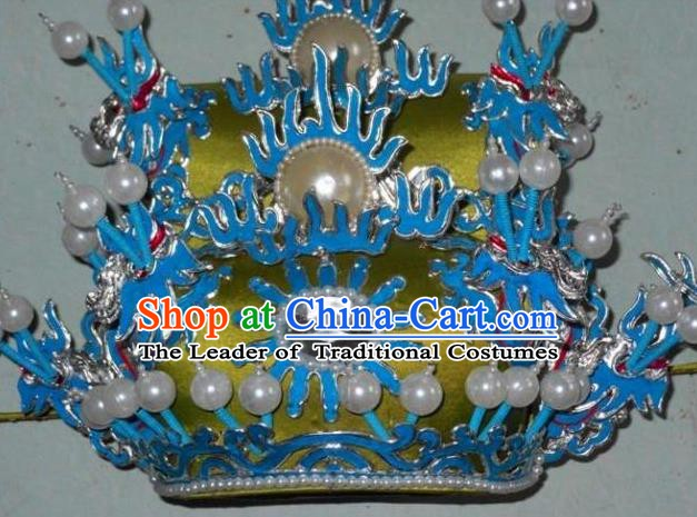 Traditional Chinese Beijing Opera Prime Minister Hair Accessories Peking Opera Chancellor Green Hats Headwear