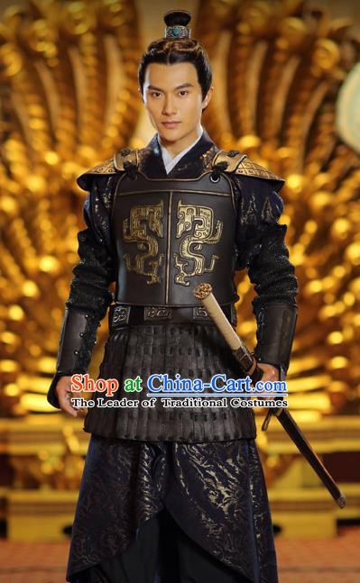 Traditional Ancient Chinese Military Officer Clothing Han Dynasty General Wei Qing Replica Costume for Men