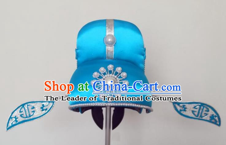 Traditional Chinese Beijing Opera Niche Blue Hats Peking Opera Young Men Headwear