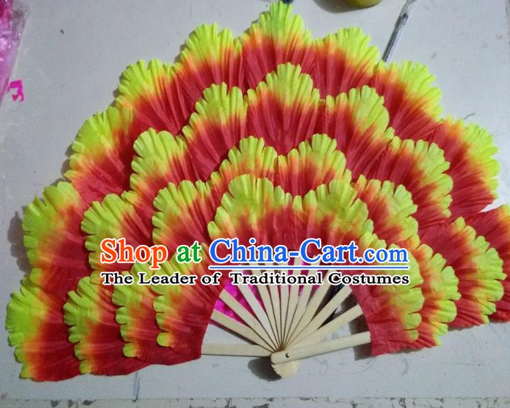 Chinese Folk Dance Props Accessories Stage Performance Orange Peony Folding Fans for Kids