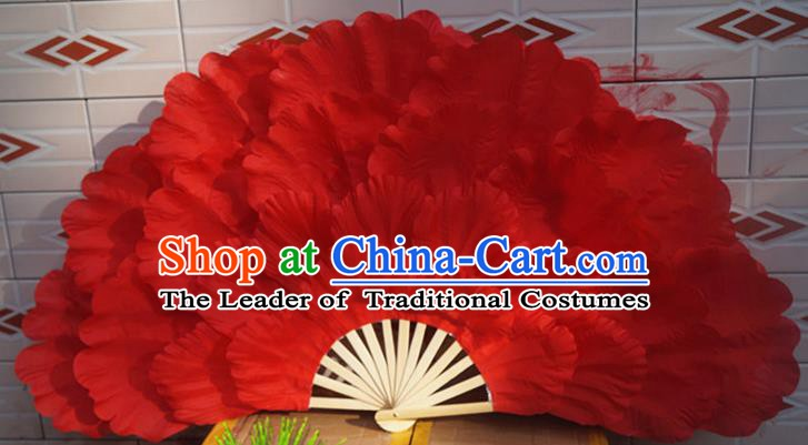 Chinese Folk Dance Props Accessories Stage Performance Red Peony Folding Fans for Kids